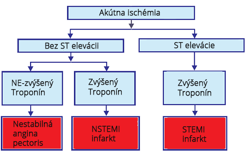 Acute cardiac ischemia, non-ST segment elevation, biomarkers of myocardia necrosis, unstable angina, NSTEMI infarction, ST segment elevation, elevated troponin, STEMI infarction